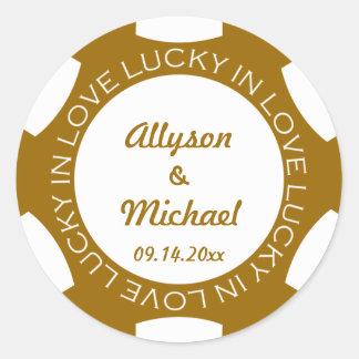 Pokerchip glücklich im Liebe-Gastgeschenk Hochzeit