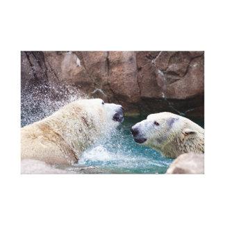 Polare Bären, die Leinwand-Druck spielen Leinwanddruck