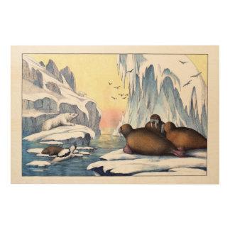 Polare Bären, Walroß und Siegel Holzwanddeko