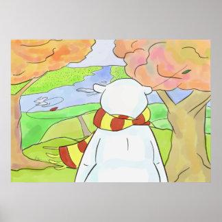 Polarer Bär im Herbst-Blätter Poster