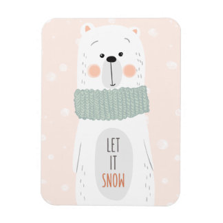 Polarer Bär - lassen Sie ihn schneien - niedlicher Magnet