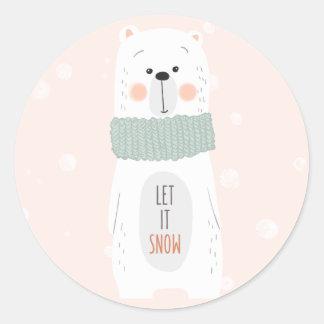 Polarer Bär - lassen Sie ihn schneien - niedlicher Runder Aufkleber