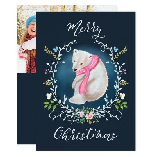 Polarer Bär und Blumenwreath-Foto-Weihnachtskarte Karte