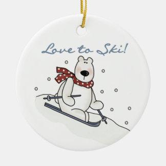 Polarer Bärn-Liebe, Ski zu fahren T - Shirts und Keramik Ornament