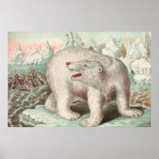 Polarer Bärn-Vintager Druck Poster