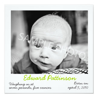 Polaroid grüne Geburts-Mitteilung Personalisierte Ankündigungskarte