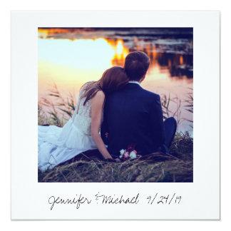 Polaroidart-Hochzeits-Foto danken Ihnen Quadratische 13,3 Cm Einladungskarte