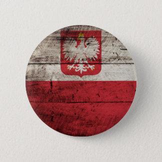 Polen-Flagge auf altem hölzernem Korn Runder Button 5,1 Cm