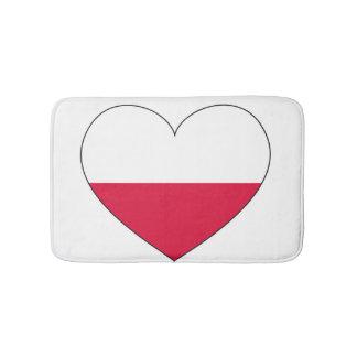 Polen-Flaggen-Herz Badematte