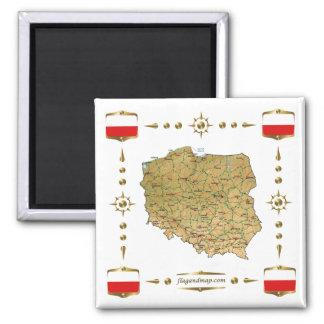 Polen-Karte + Flaggen-Magnet Quadratischer Magnet