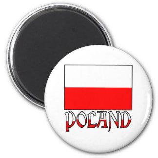 Polenflagge u. -name runder magnet 5,7 cm