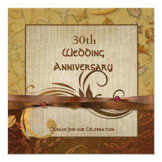 Polierter Herbst-Gold30. Hochzeitstag Quadratische 13,3 Cm Einladungskarte