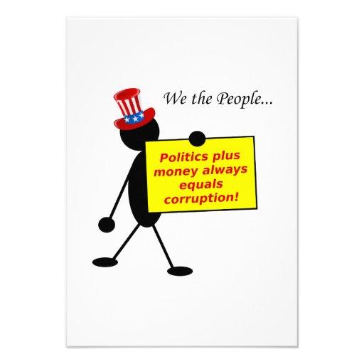 Politik plus Geld entspricht immer Korruption Personalisierte Ankündigungskarten