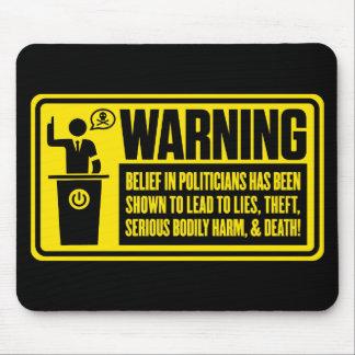 Politiker, der Mousepad warnt