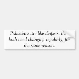 Politiker sind wie Windeln, Antiobama-Aufkleber Autoaufkleber