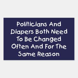 Politiker und Windeln Rechteckiger Aufkleber