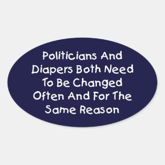 Politiker und Windeln Ovaler Aufkleber
