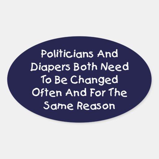 Politiker und Windeln Ovale Aufkleber