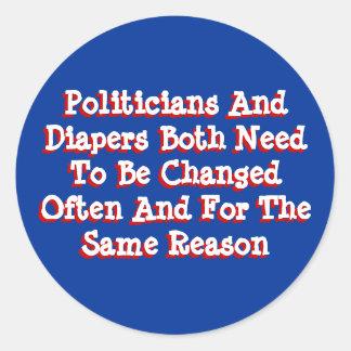 Politiker und Windeln Runder Aufkleber