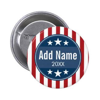 Politische Kampagne - patriotisches US Flagge Runder Button 5,1 Cm