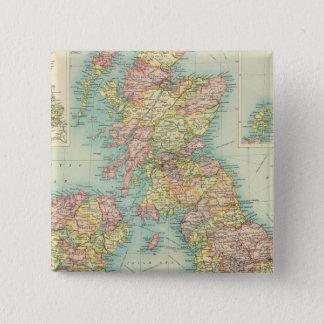Politische Karte der britischen Inseln Quadratischer Button 5,1 Cm