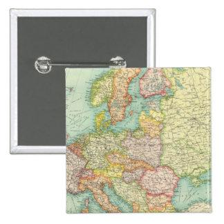 Politische Karte Europas Quadratischer Button 5,1 Cm