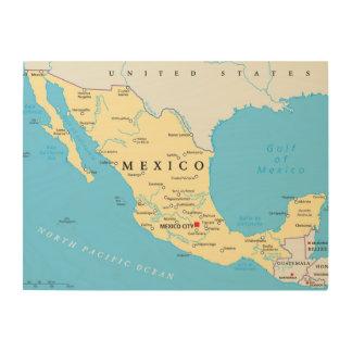Politische Karte Mexikos Holzwanddeko