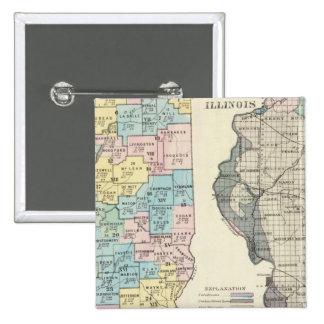 Politische Karte von Illinois Anstecknadelbutton