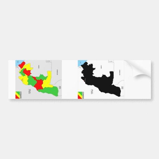 politische Kartenflagge der Kongo-Landes Autosticker