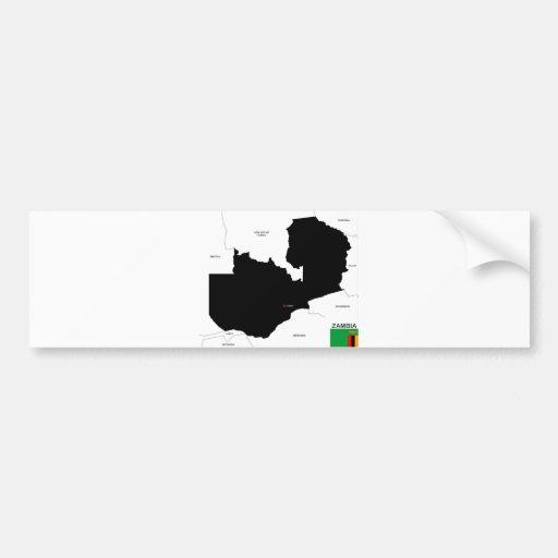politische Kartenflagge des Sambialandes Autoaufkleber