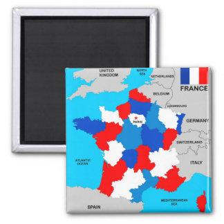 politische Kartenflagge Frankreich-Landes Quadratischer Magnet