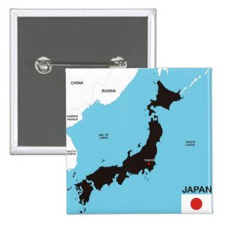 politische Kartenflagge Japan-Landes Buttons
