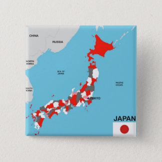 politische Kartenflagge Japan-Landes Quadratischer Button 5,1 Cm