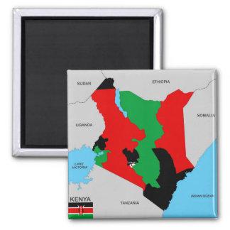 politische Kartenflagge Kenia-Landes Quadratischer Magnet
