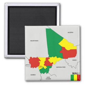 politische Kartenflagge Mali-Landes Quadratischer Magnet