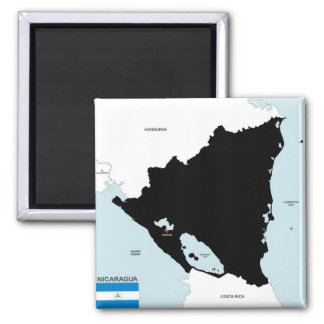 politische Kartenflagge Nicaragua-Landes Quadratischer Magnet