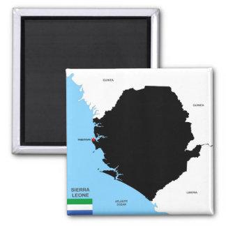 politische Kartenflagge Sierra- Leonelandes Quadratischer Magnet