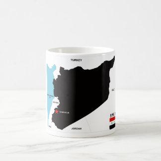 politische Kartenflagge Syrien-Landes Kaffee Haferl