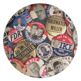 Politischer Knopf-Teller Party Teller