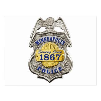 Polizei-Abzeichen Minneapolis Minnesota Postkarte