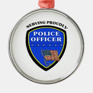 Polizei, die stolz dient silbernes ornament