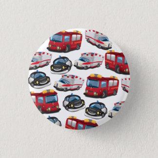 Polizei-, Krankenwagen- und Feuerwehrtransport Runder Button 3,2 Cm