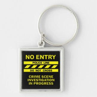 Polizei-Linie Schlüsselkette Silberfarbener Quadratischer Schlüsselanhänger