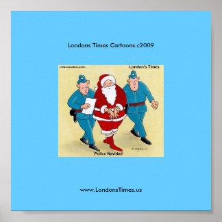 Polizei Navidad lustiges WeihnachtsCartoon-Plakat Poster