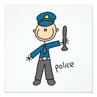 Polizei-Offizier-Strichmännchen Individuelle Einladungskarten