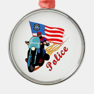 Polizei-Radfahrer Silbernes Ornament