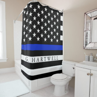 Polizei redete amerikanische Flaggen-individuellen Duschvorhang