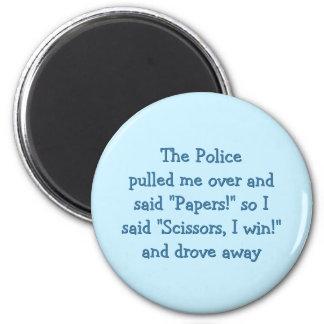 Polizei schaukelt Papierschere-lustigen Runder Magnet 5,1 Cm