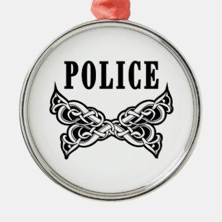 Polizei tätowiert silbernes ornament