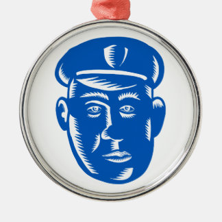 Polizeibeamte-Hauptholzschnitt Silbernes Ornament